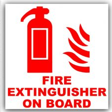 1 x Fire Extinguisher On Board-Red on White-Vehicle,Car,Bus,Taxi,Minicab,Minibus Sticker-Warning Self Adhesive Vinyl Sign